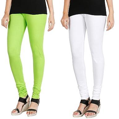 0c2324cf3f3093 HRINKAR® FLUROSCENT GREEN WHITE Soft Cotton Lycra Plain leggings for girls  combo Pack of 2