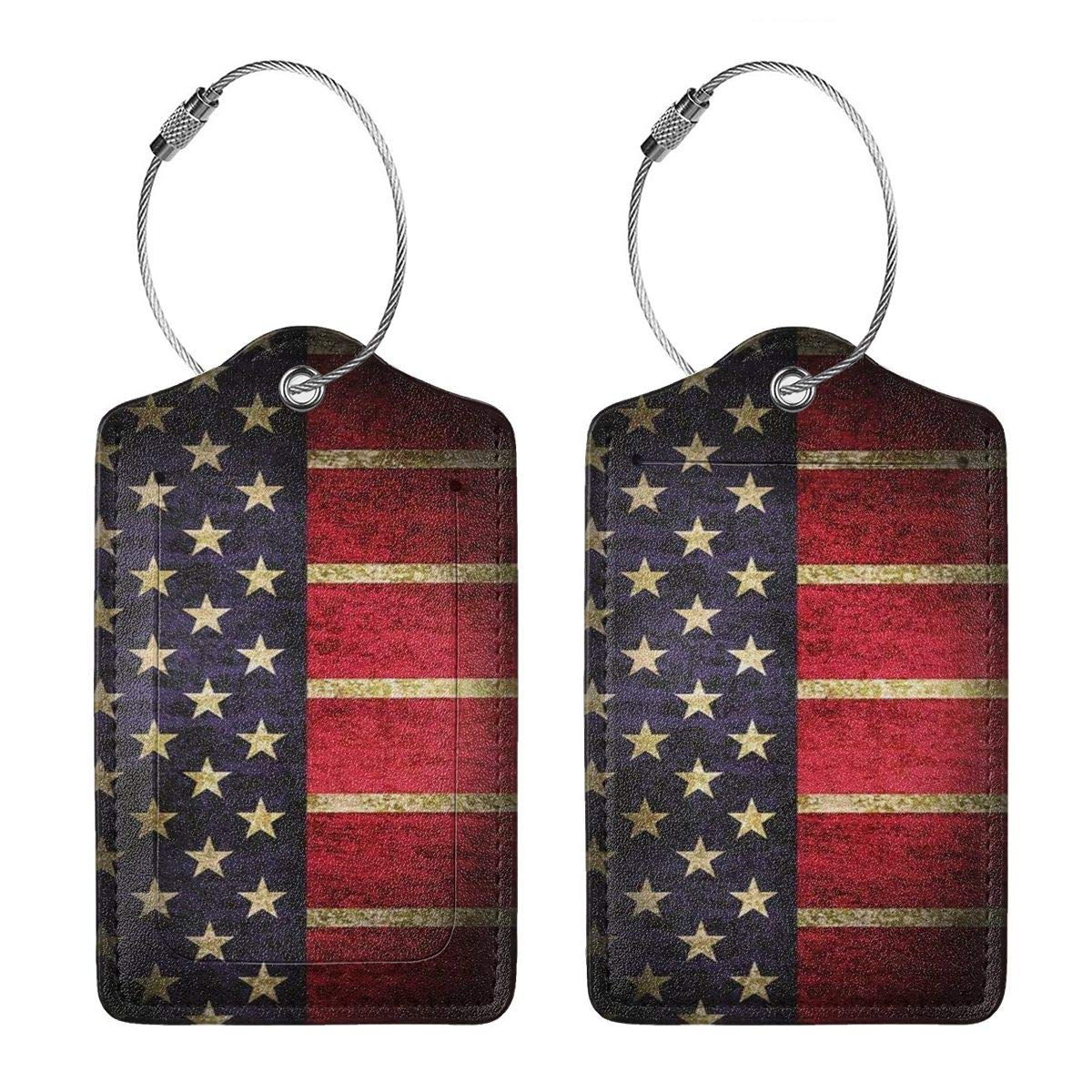 USA American Flag Luggage Tags With Full Back Privacy Cover W//Steel Loops