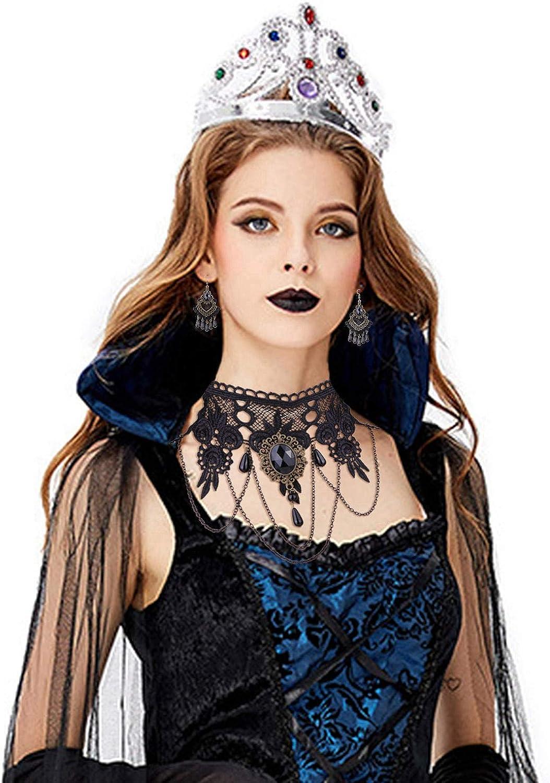 Finrezio Collier Tour De Cou en Dentelle Noire Ensemble De Bijoux De Gants pour Femmes Filles Bijoux De Style Gothique Vintage pour Cosplay Costume Halloween
