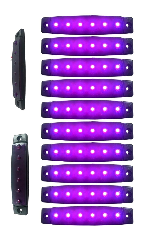 10 x 12V 12 VOLT LED PURPLE SIDE MARKER LIGHT POSITION TRUCK TRAILER LORRY CAMPER NONE