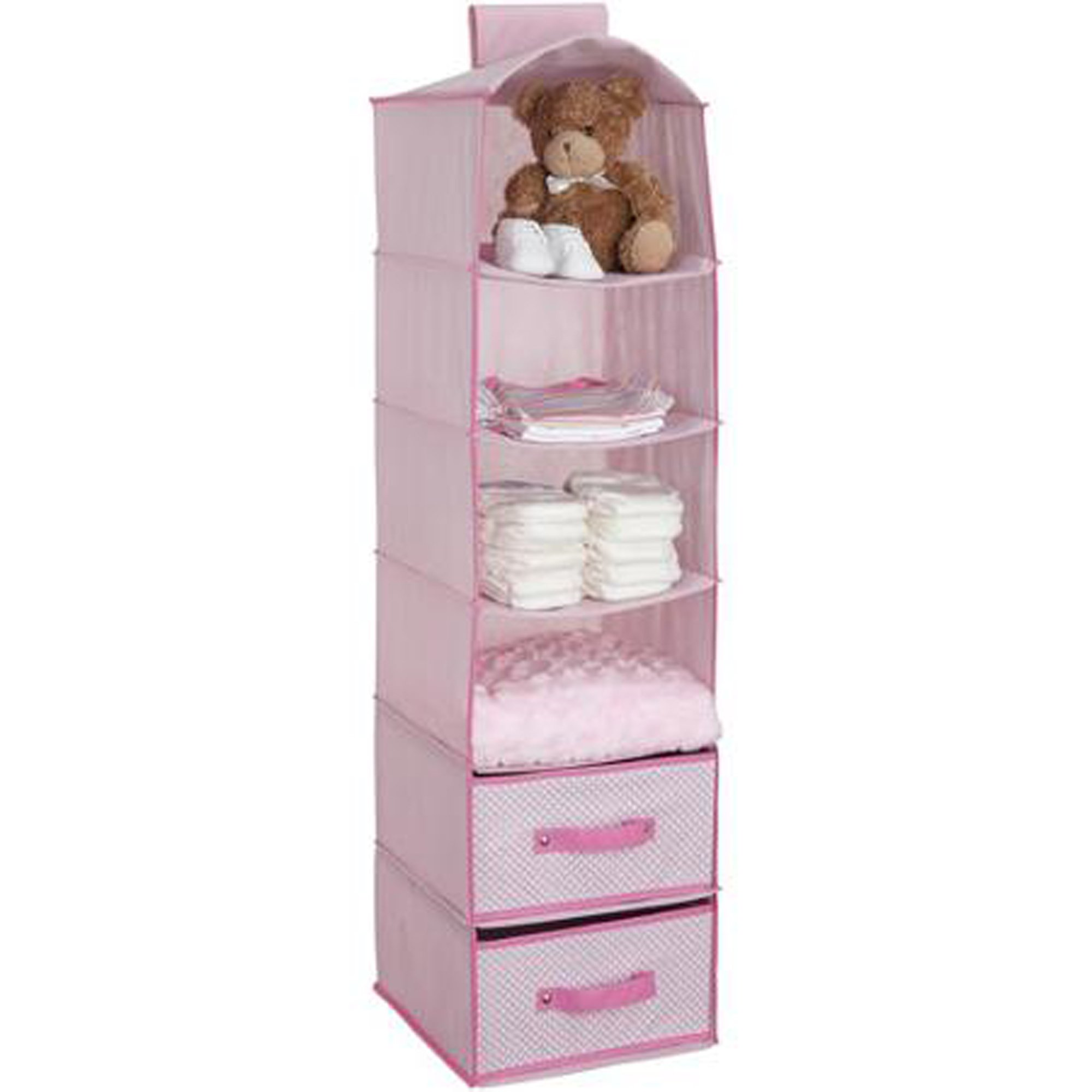 6-Shelf Hanging Storage Unit with 2 Drawers Barely Pink Children Closet Hanging Storage Shelves Delta Kids Vertical Closet Rack Nursery Heavy-duty Fabric Velcro Top Bedroom Easy Install by Delta Children