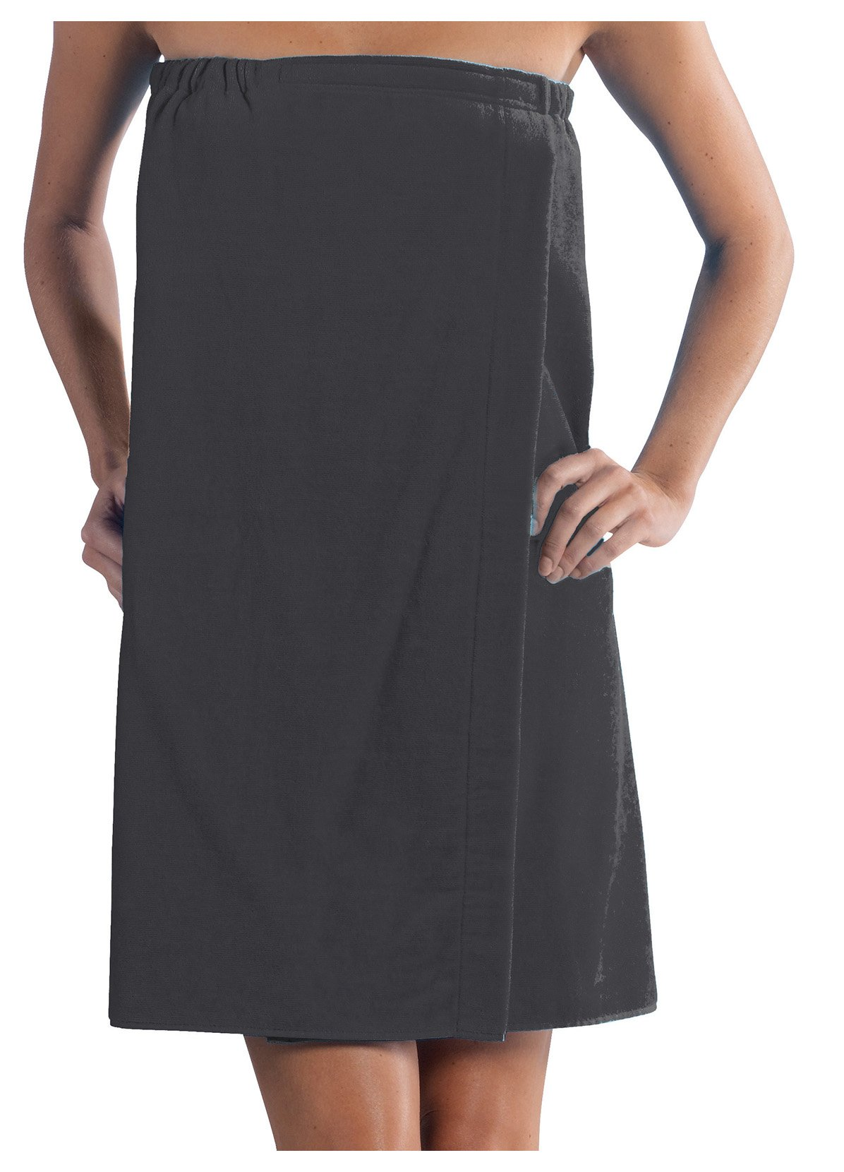 robesale Spa Wrap Terry Cotton Ladies Cover Ups, Charcoal, One Size