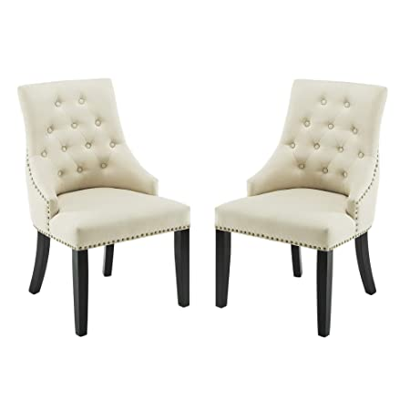 DAGONHIL Fabric Dining Accent Chairs Set of 2 ,Nailed Trim Beige