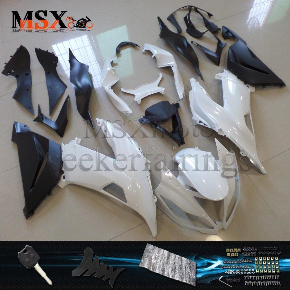 MSX-moto 適応 ZX6R 2013 2014 2015 2016 2017 Ninja ZX636 13 14 15 16 17年 外装パーツセット ABS射出成型完全なオートバイ車体 白/ホワイト&黒/ブラックのボディ   B07DZN713S