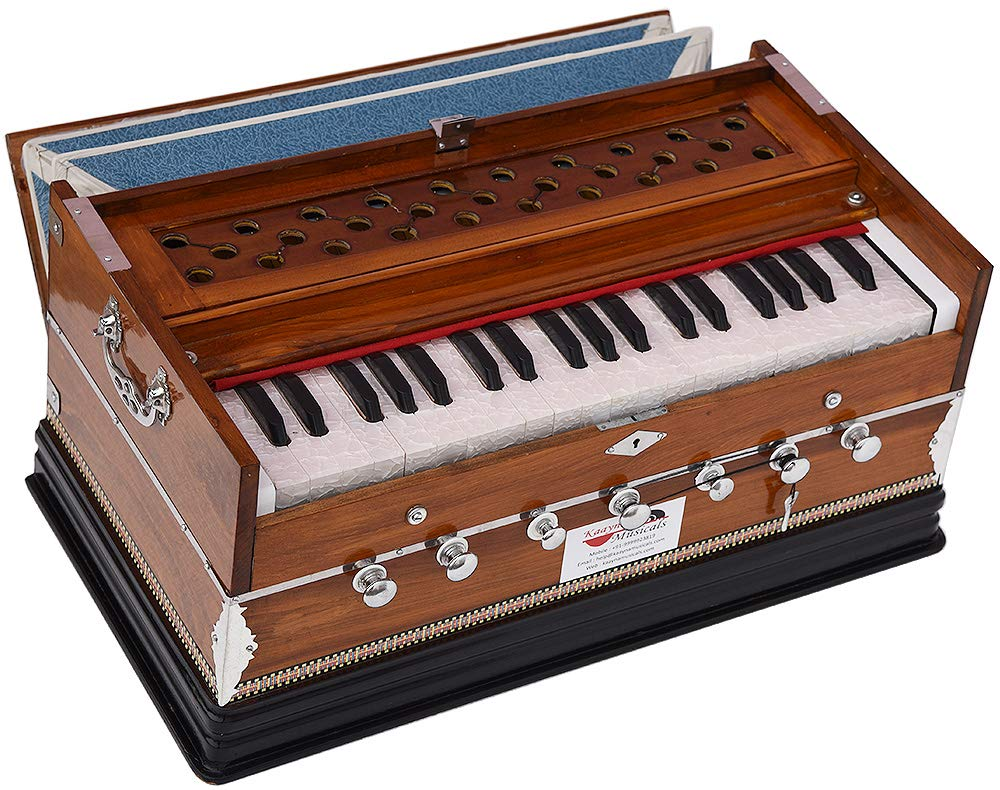Harmonium Eco Model By Kaayna Musicals, Brown Colour, 7 Stops- 2 Drone, 3¼ Octaves, Gig Bag, Bass/Male Reed Tuned- 440 Hz, Best for Peace, Yoga, Bhajan, Kirtan, Shruti, Mantra, etc
