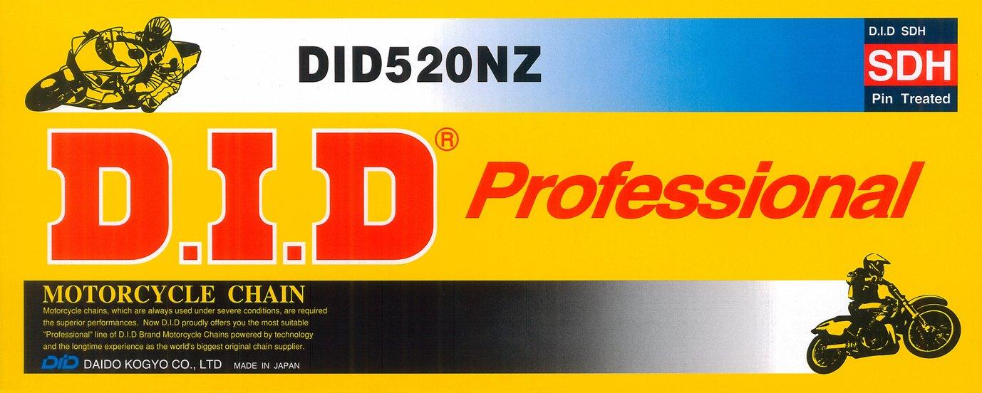 DID Cadena 520 NZ, 110 eslabones (está ndar), abierto con clip Candado 110eslabones (estándar) Daido Kogyo Co. LTD. 520NZX110FB
