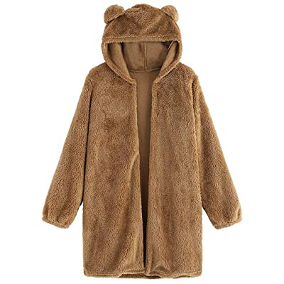 TWGONE Fuzzy Cardigan Fluffy Jackets for Women with Hood Long Sleeve Bear Ear Teddy Hoodie Fleece Open Front Coat at Women's Clothing store
