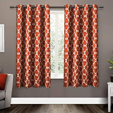 Exclusive Home Curtains Gates Sateen Blackout Thermal Window Curtain Panel Pair with Grommet Top, 52x63, Mecca Orange, 2 Piece