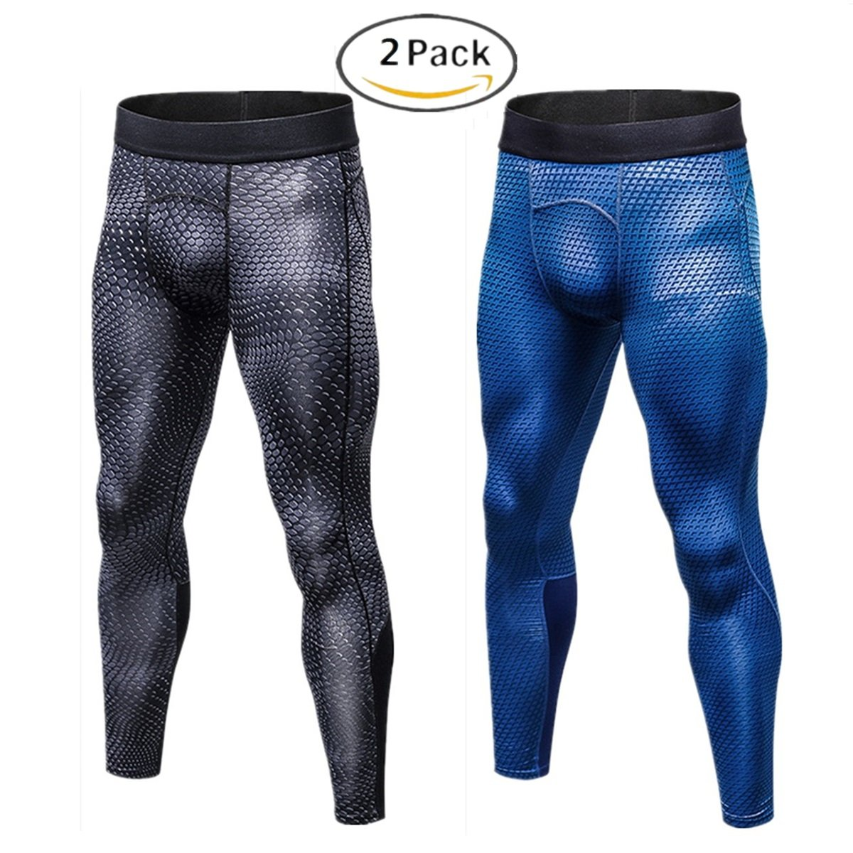 Muscle Killer Men's 2 Pack Compression Pants Cool Dry Sports Tight Leggings (Tag Size XL=US Size M, Snake+Blue)