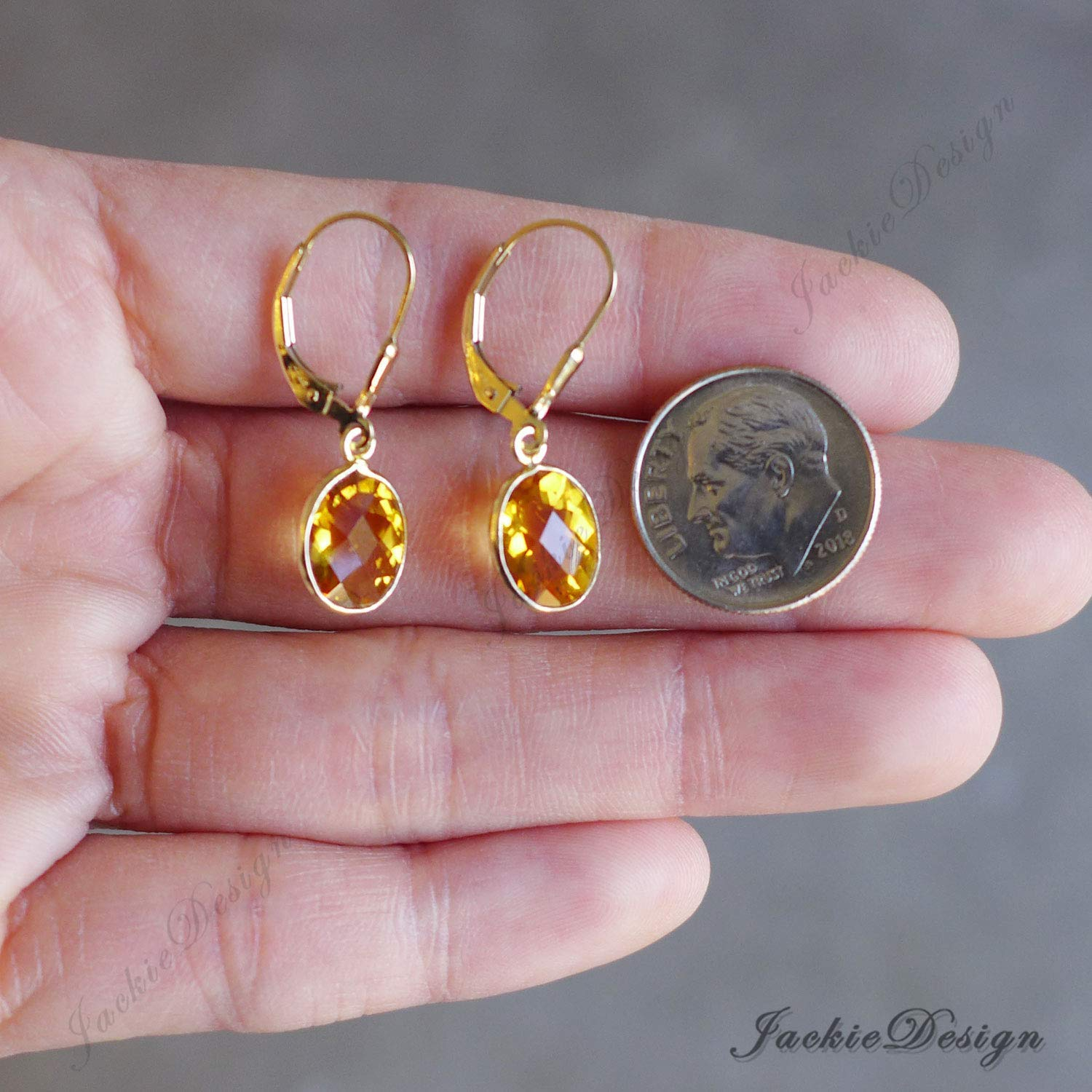 Oval Drop Golden Citrine Drop Gold Filled Leverback Earrings Z37