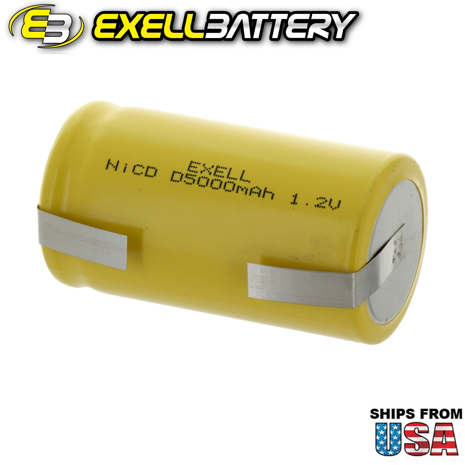 20x Exell D Size 1.2V 5000mAh NiCD Rechargeable Batteries with Tabs for medical instruments/equipment, electric razors, toothbrushes, radio controlled devices, electric tools by Exell Battery (Image #3)