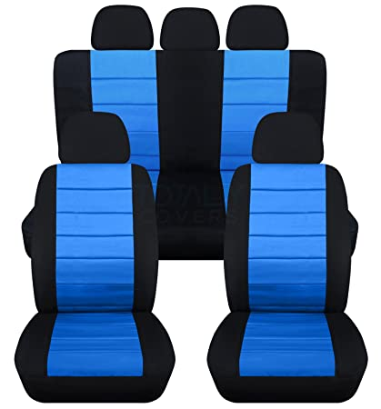 2 Tone Car Seat Covers W 5 Front 3 Rear Headrest