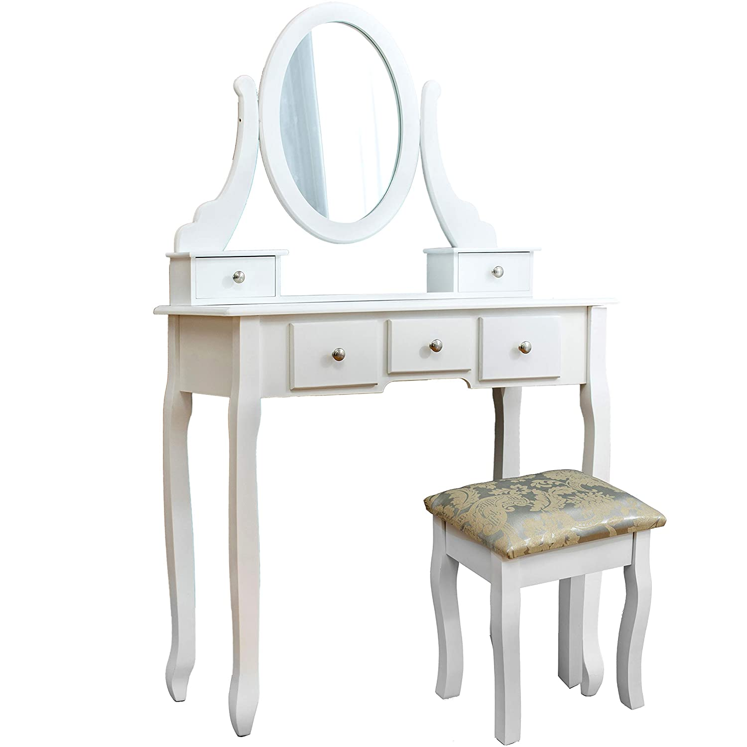 Cherry Tree Furniture White 5-Drawer Vanity Makeup Dressing Table with Oval Mirror, Jacquard Cushioned Stool