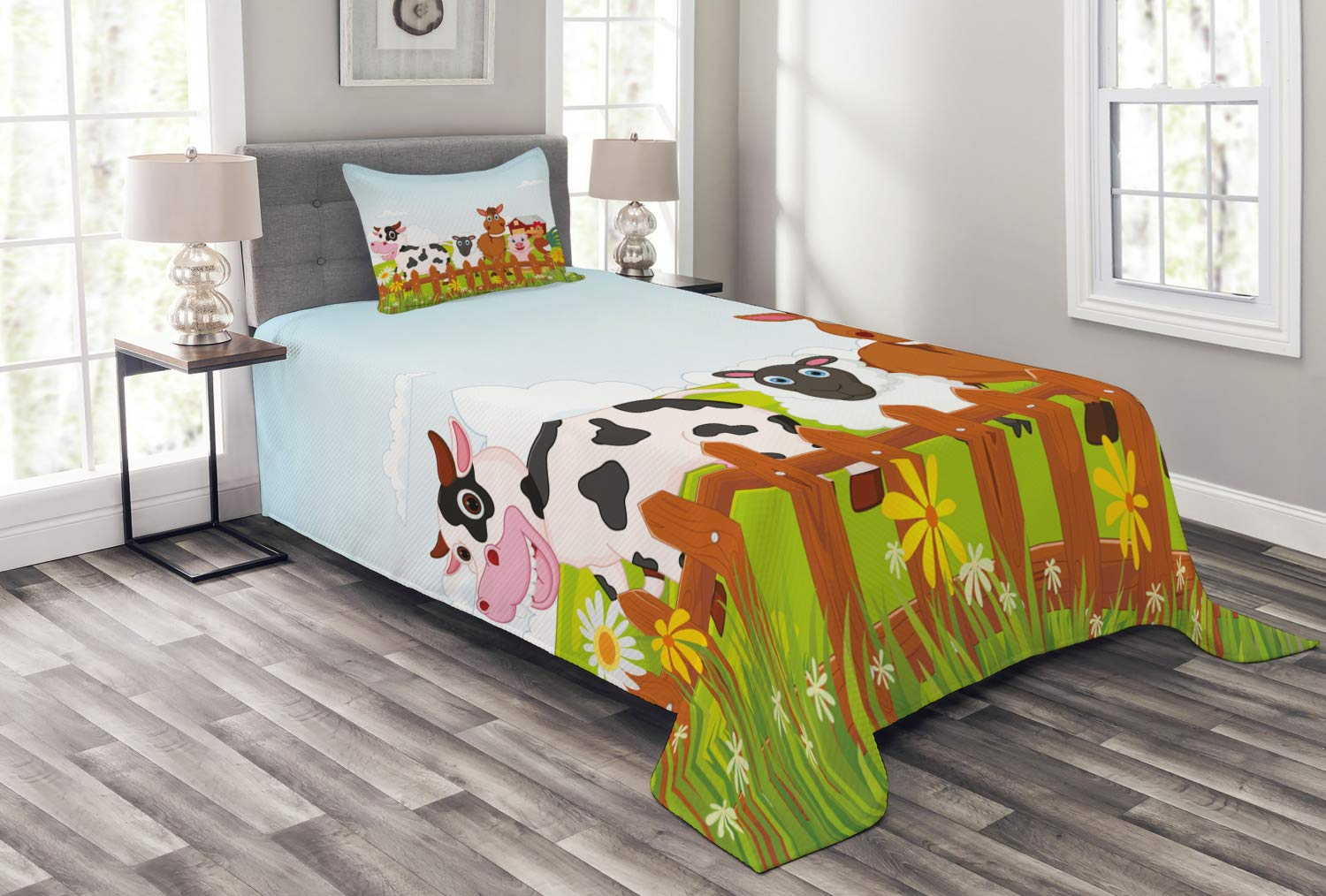 Lunarable Animal Bedspread, Farm Creatures with Cow Horse Goat Pig and Chicken by The Fences Kids Cartoon, Decorative Quilted 2 Piece Coverlet Set with Pillow Sham, Twin Size, Multicolor by Lunarable