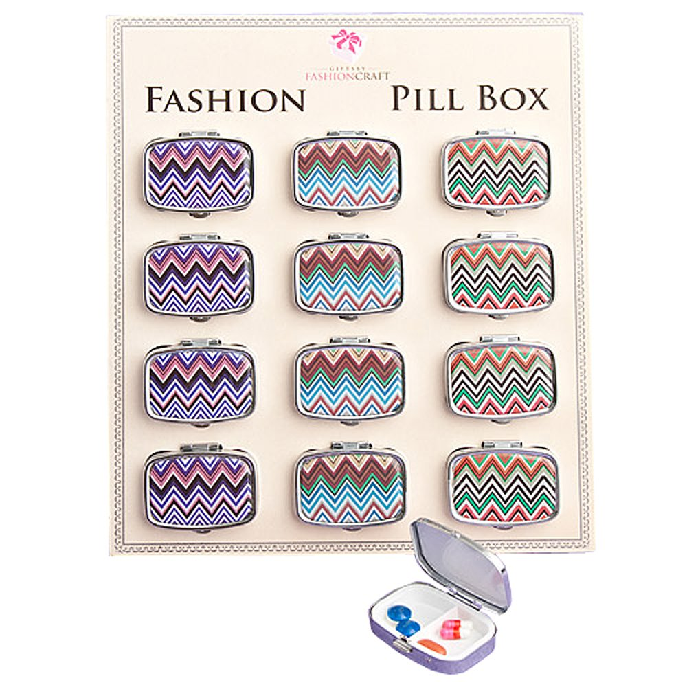 Chevron-design pill boxes - 72 count by Fashioncraft