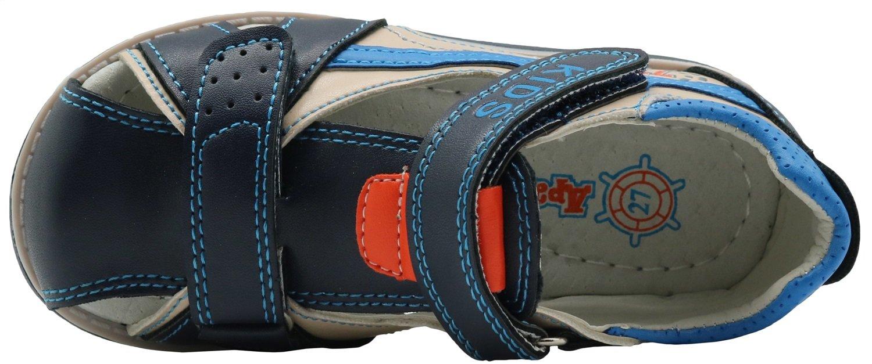 Color : Blue+Beige , Size : 9 UK Durable Toddler//Little Kid Non-Slip Boys Shoes Double Adjustable Strap Closed-Toe Sandals