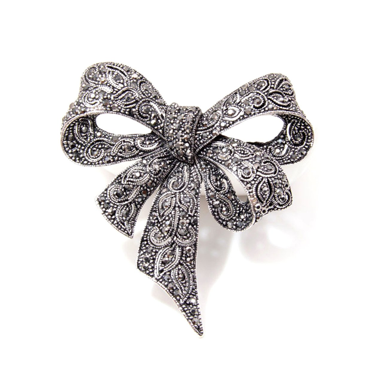 EJY Antique Silver Crystal Bow Knot Brooches Pins Christmas Wedding Gift for Women 88_Store