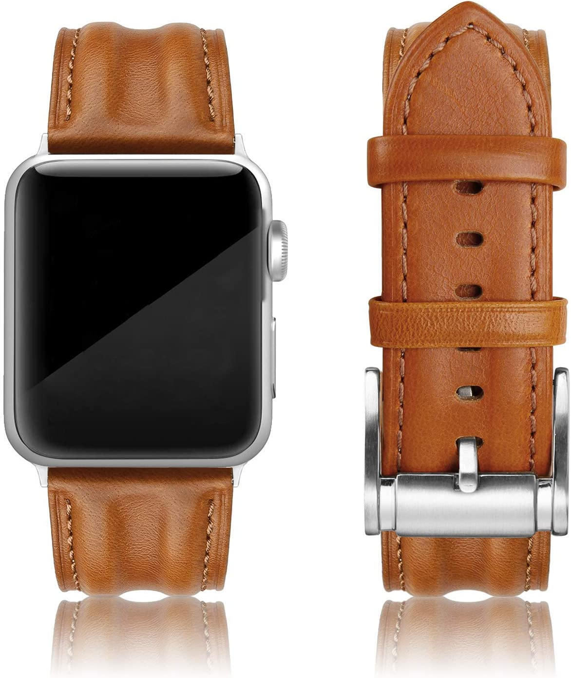 SWEES Leather Band Compatible with iWatch 42mm 44mm, Genuine Leather Classic Strap Wristband Compatible for Watch Series 6, Series 5, Series 4, Series 3, Series 2, Series 1, SE Sports & Edition Men, Saddle Brown