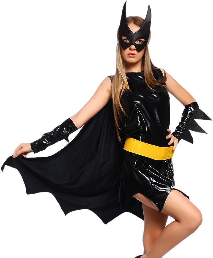 Wunderbarwahl Disfraz de heroína sexy negro negro mediano: Amazon ...