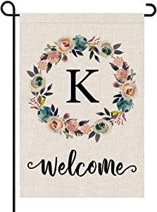 PARTY BUZZ Monogram Wreath Letter K Burlap Garden Flag Floral Initial, Double Sided, 12.5 x 18 Inch, Small Mini Outdoor Yard Flag