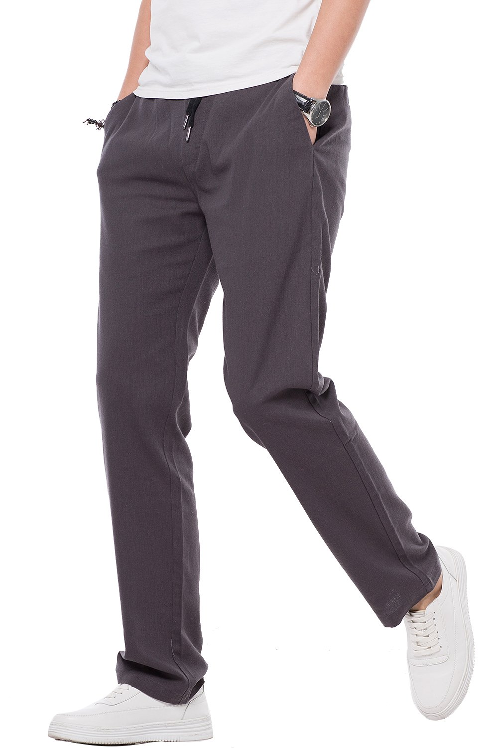 INFLATION Men's Relaxed-Fit Drawstring Cotton Linen Pant Lightweight Summer Trousers
