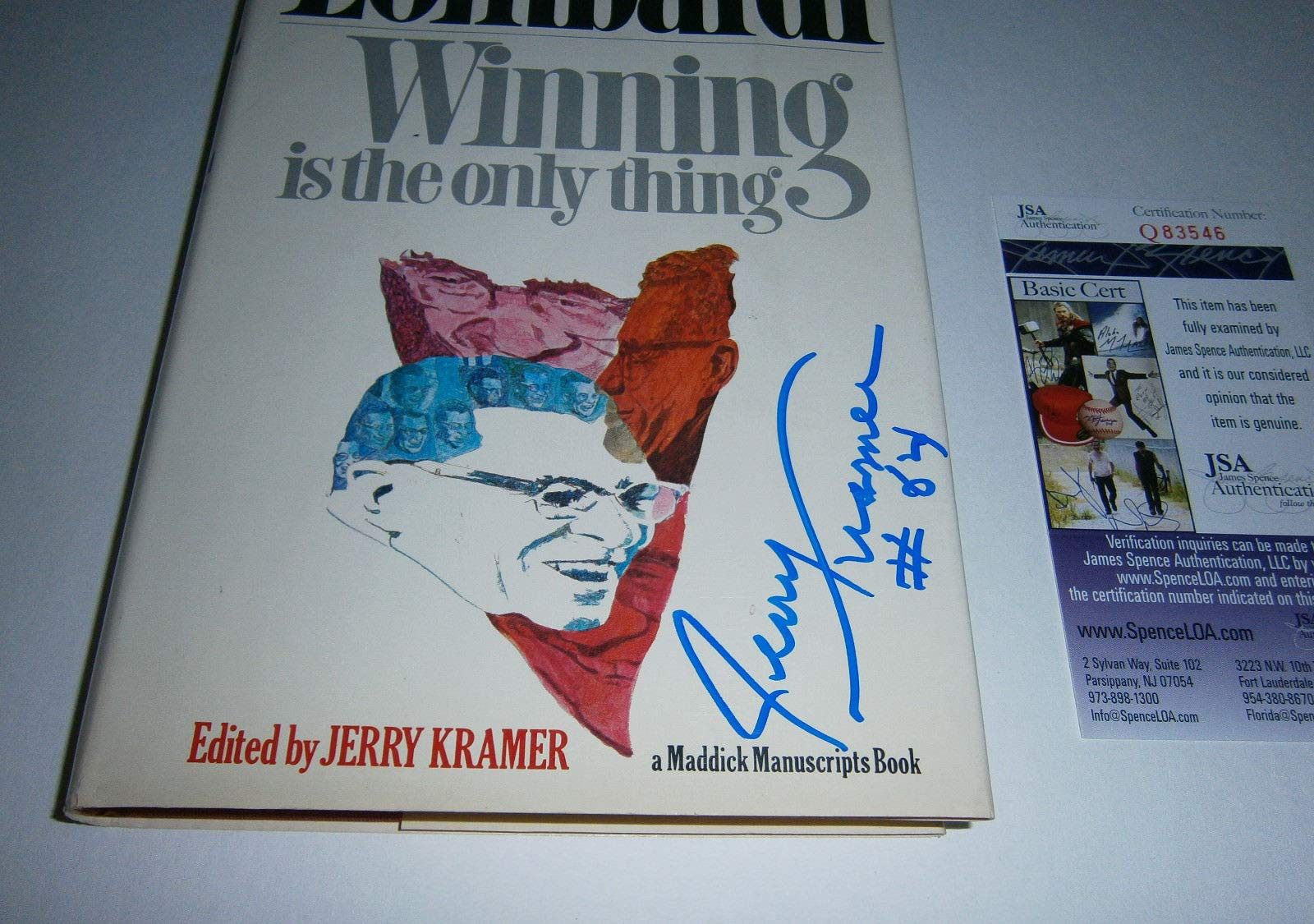 1969 Packers Jerry Kramer Autographed Signed Lombardi Winning Is Only Thng Book JSA Auto Hof