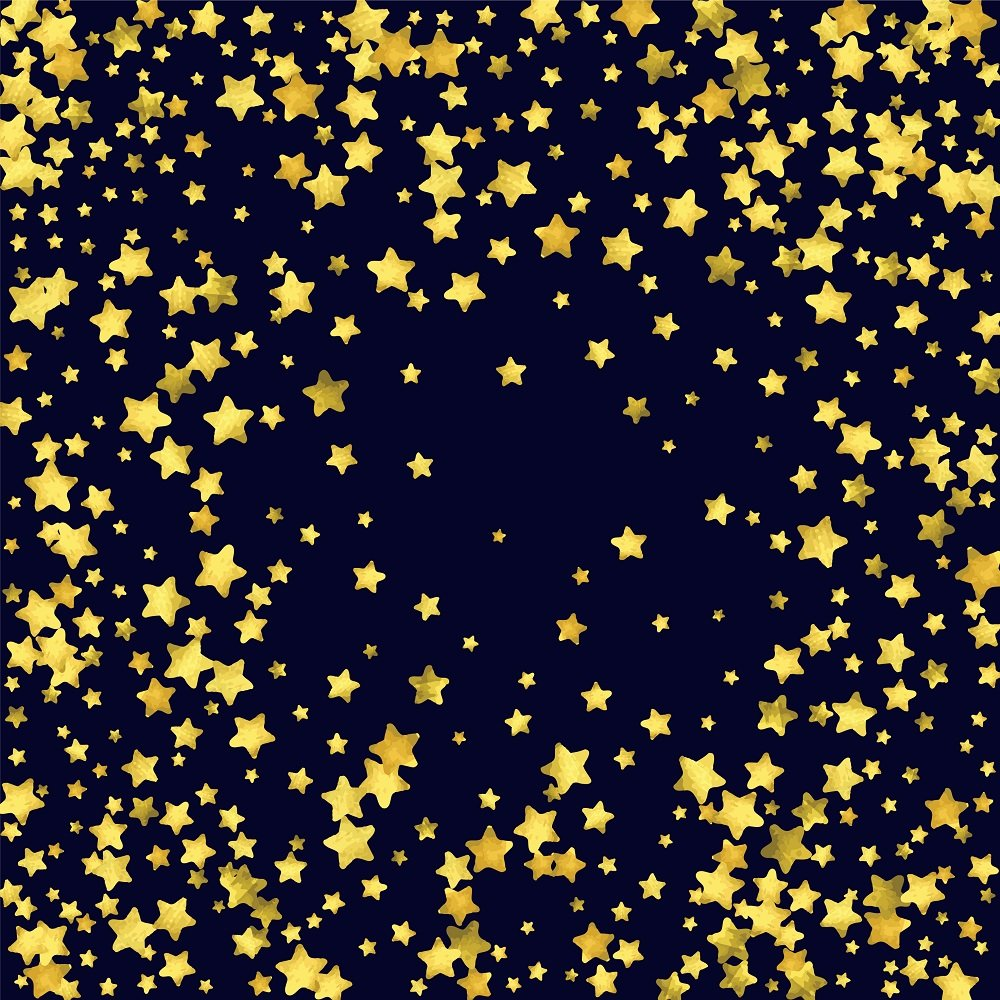 Reusable Gold Stars Party Wall Scene Setter Photo Backdrop, 1 Piece, 71'' x 71'', 5.9ft x 5.9ft, Polyester