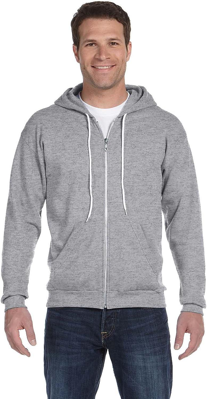 Large HEATHER GREY Anvil Adult Combed Ringspun Fashion Fleece Full-Zip Hood