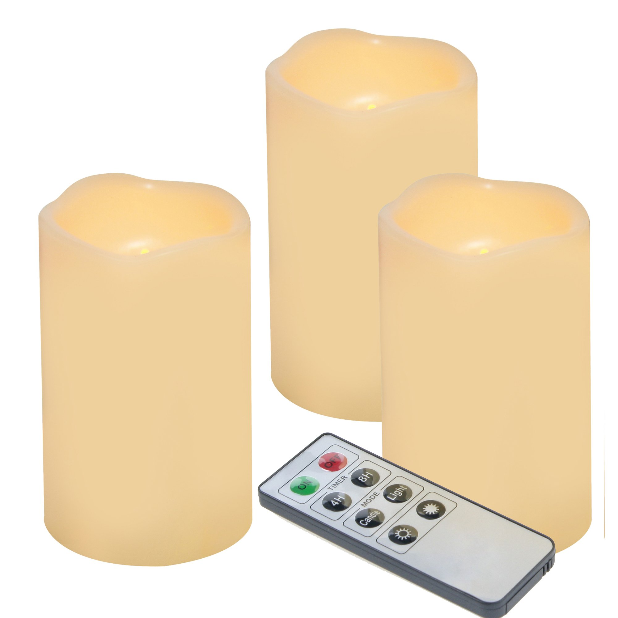 "Outdoor Flameless LED Candles with Remote & Timer - Long Lasting Waterproof Realistic Flickering Battery-Operated Battery Powered Electric Electronic Pillar Candles by Izan 3""(D) x5""(H) 3-Pack by iZAN"
