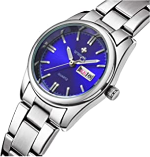 Luxury Womens Fashion Luminous Quartz Dress Waterproof Calendar Stainless Steel Sports Wristwatch Blue