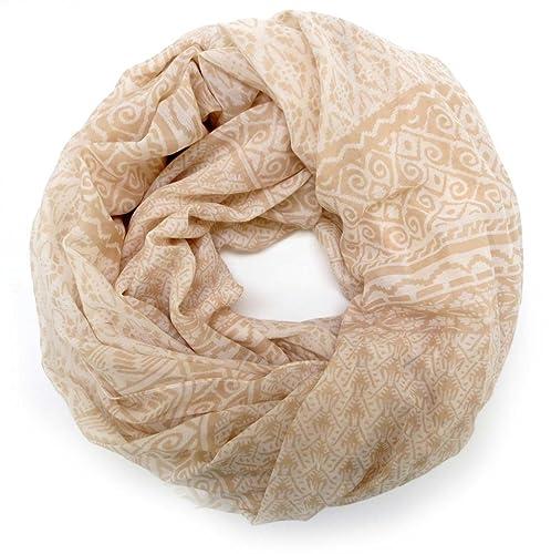 accessu® Sciarpa da Donna – Ethno Ornament Pattern – beige/white