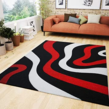 Vimoda Wohnzimmer Teppich Rot Schwarz Weiss Wellen Muster Frisee Teppiche Flauschig Weich Konturenschnitt Gepruft Von 160x230 Cm