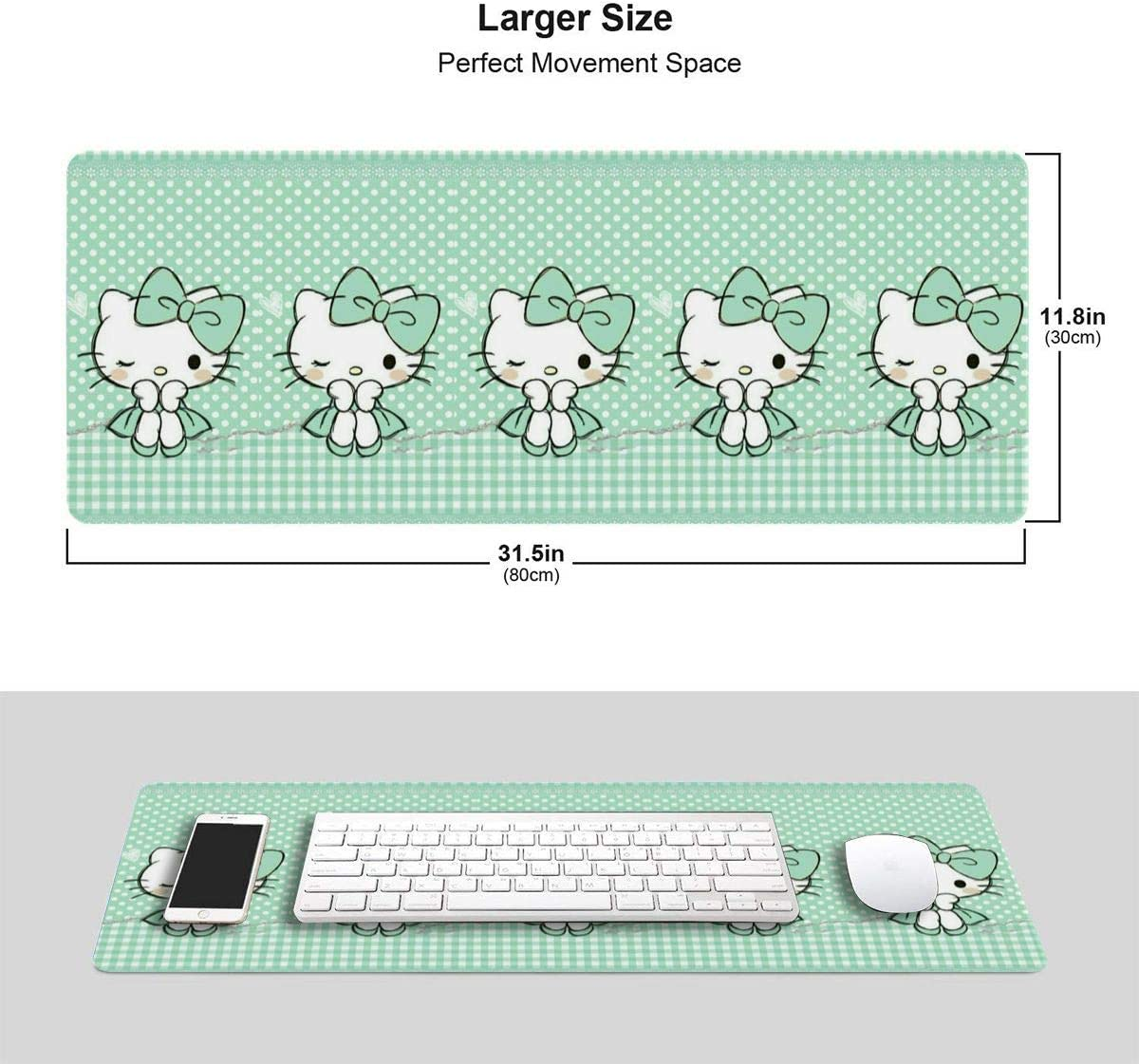 Large Gaming Mouse Pad Hello Kitty Green Dot Extended Desk Pad for Computers Thick Keyboard Mouse Mat Non-Slip Rubber Base Mousepad 11.8 X 31.5 X 0.12inch