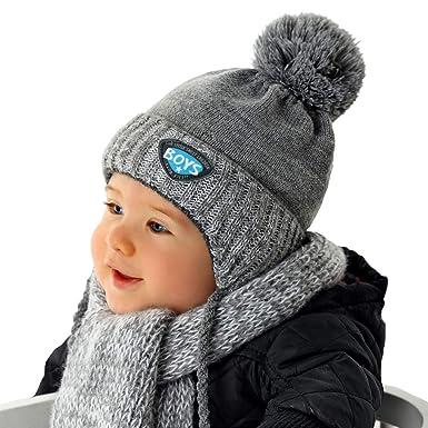 AJS Jungen Winterset Set Mütze Beanie Wintermütze Strickmütze Loopschal Wolle