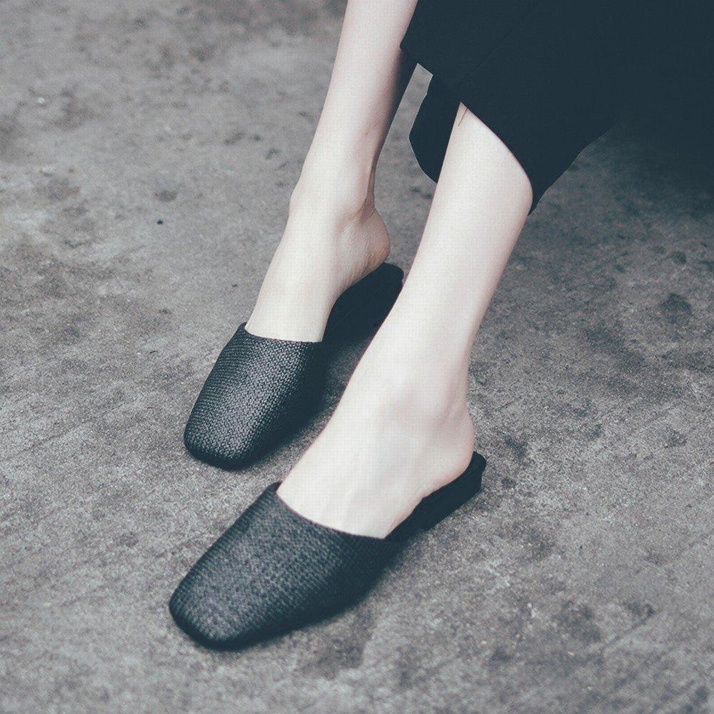 DIDIDD Flache Schuhe Sandalen der Modeabnutzung Faule Schuhe Schwarz Beiläufige Wilde Baotou Schwarz Schuhe 38 5c36a8