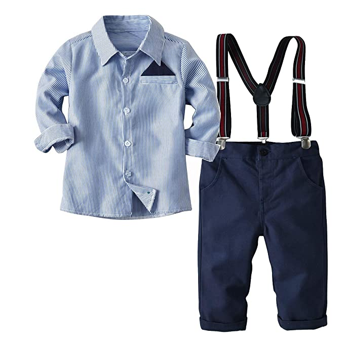 24e20a7a6432 Boleyn Boy's 2 Pcs Outfits Gentleman Suit Long Sleeve Shirts + Suspender  Pants for Kid and Baby