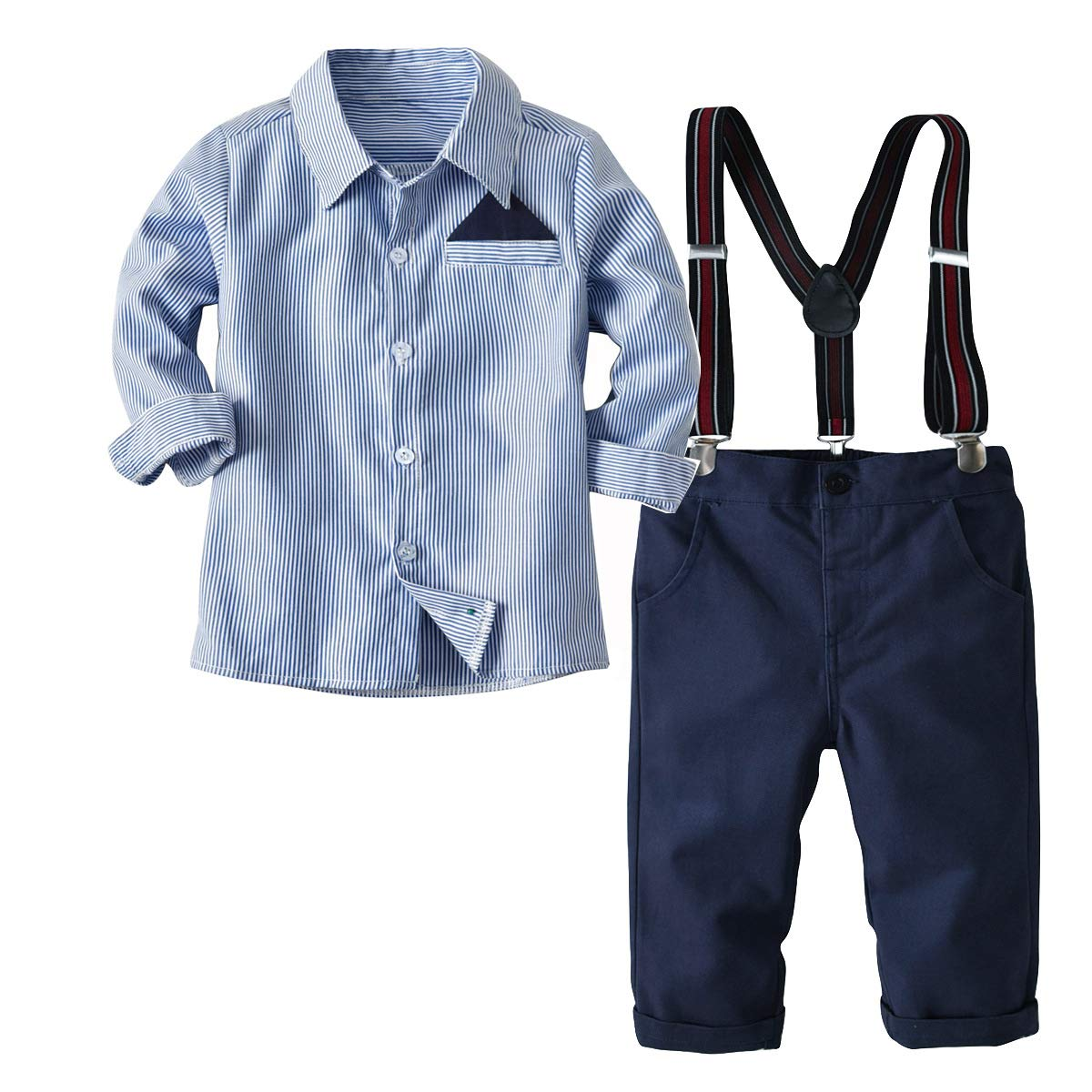 Little Boys Long Sleeve Gentleman Outfit Suits Set,Navy Shirt with Pocket Square+Blue Pant+Suspenders,3T