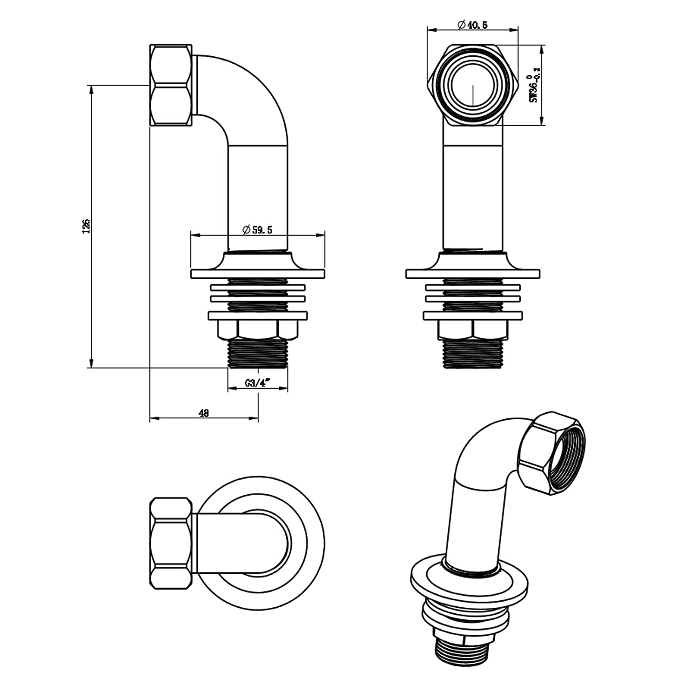 ENKI Gro/ßer Adapter f/ür Badewannenarmatur Montage an Wand /& Wannenrand