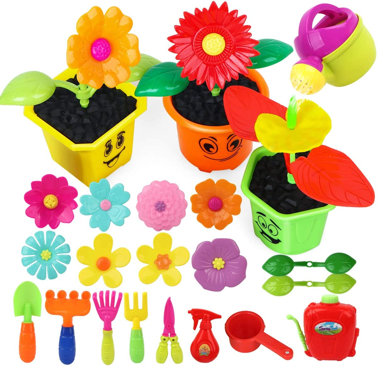 Vanmor Toddlers Pretend Gardening Toy Set- Little Gardeners Flower Building Toy for Babies & Kids STEM Garden Activity Playset Outdoor Gift for Girls and Boys Learn About Plant Grow (Color Random)