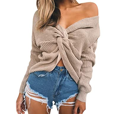 530cddd5c Baijiaye Femmes Court Tricot Chandail Sexy Col V Profond Dos Nu Pull  Torsadé Grosse Maille Pull-Overs Manche Chauve Souris
