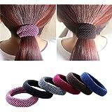 Khalee Hair Elastics Tie Stretch Ponytail Band Thick Hairs Elastics, 6 PCS