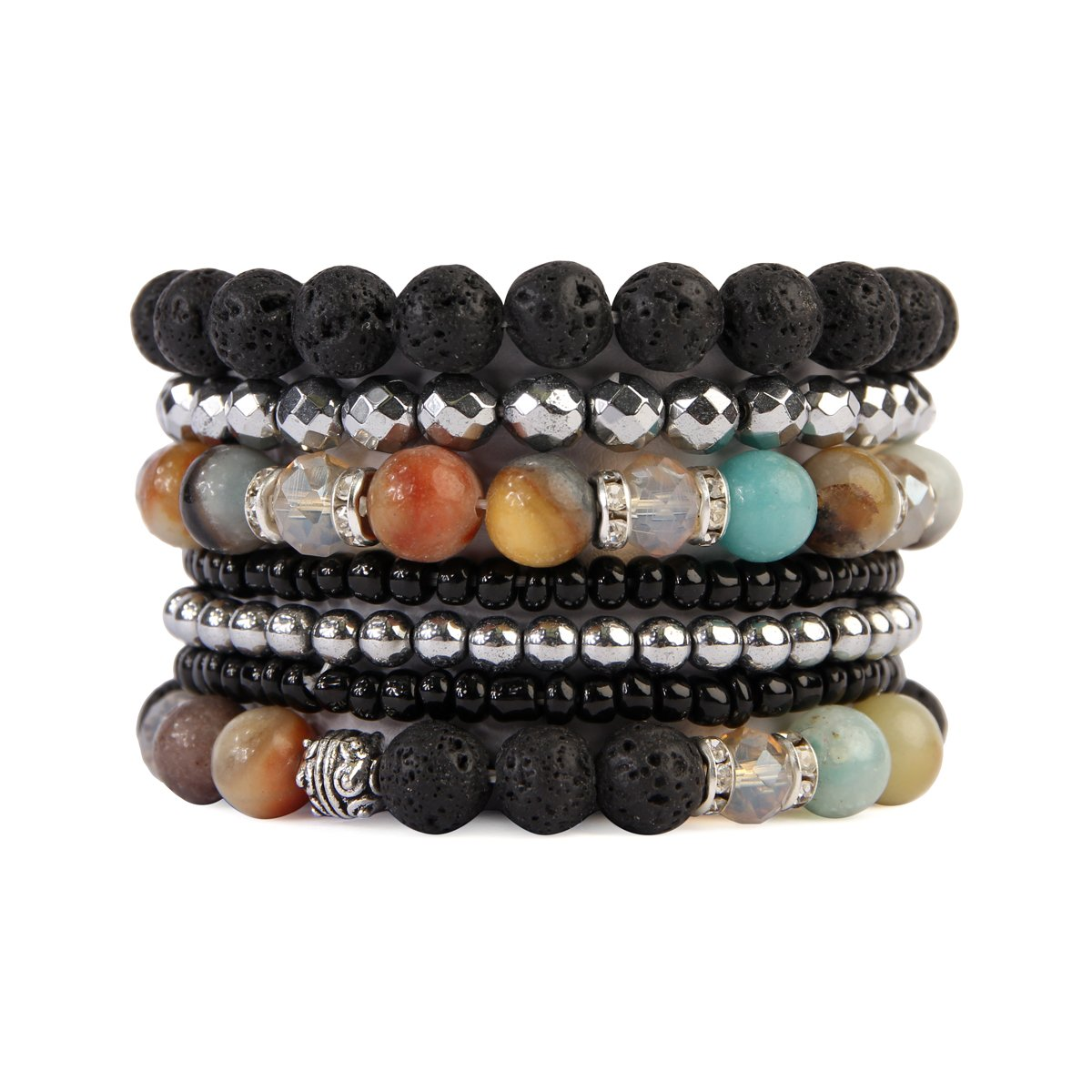 MYS Collection RIAH Fashion Lava Rock Essential Oil Diffuser Stretch Bracelet - Multi Strand Beaded Statement Bangles (Amazonite)
