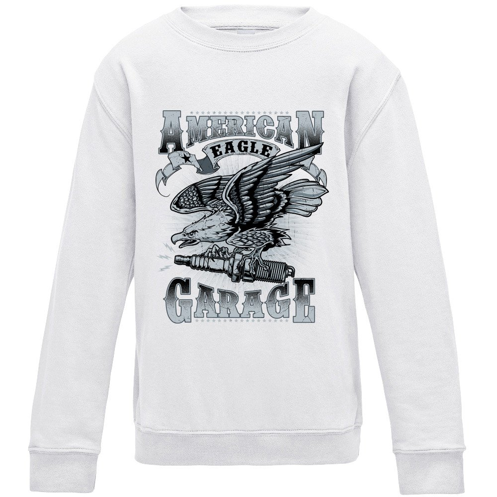 Merch Kingdom American Eagle Garage Sweater - White - Small ...