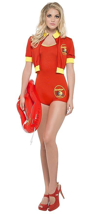 Smiffys Smiffys- Licenciado Oficialmente Disfraz de vigilanta de la Playa de Baywatch, Rojo,