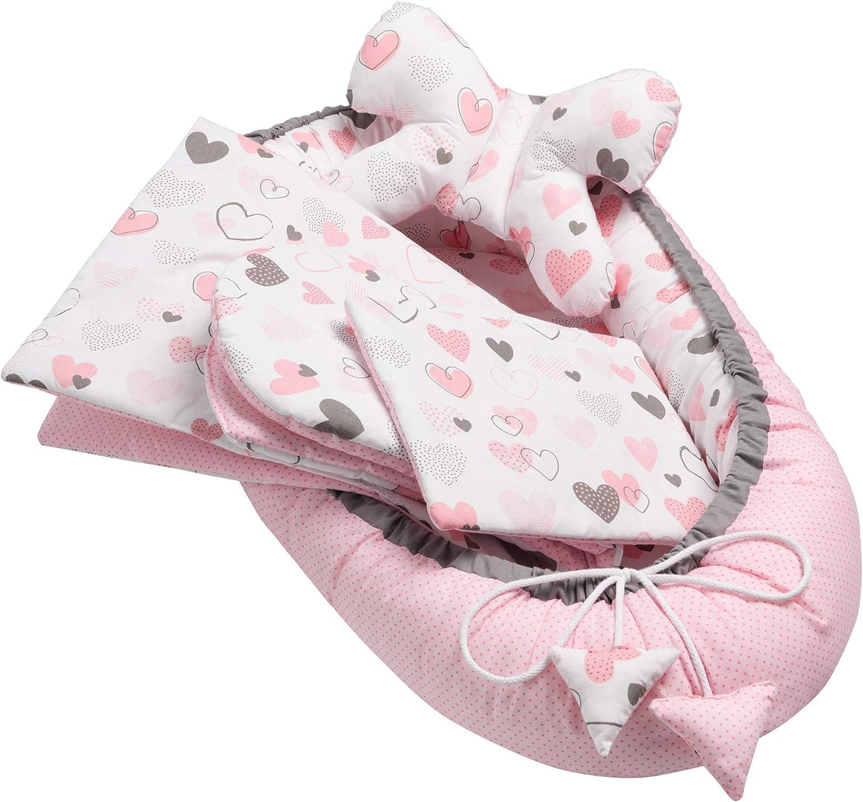 5 piezas Juego de equipamiento para bebé, incluye nido de 50 x 90 cm, cojín cervical, cojín plano, colchón para bebé, manta – hipoalergénica, suave, para bebés de 0 a 7 meses (Hearts)