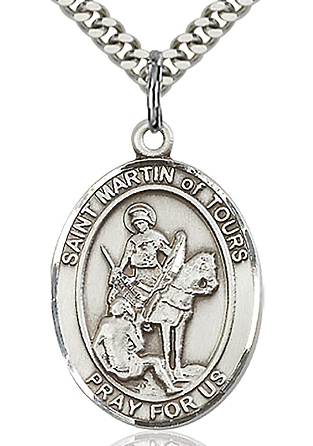 Heartland Men's St. Martin of Tours Sterling Silver Medal + Patron Saint of Soldiers + USA Made