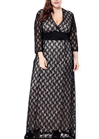 c4d1add5e7e Aofshe Women s Plus Size Stretch Lace Maxi Dress - Evening Wedding Cocktail  Party Slim Dress (
