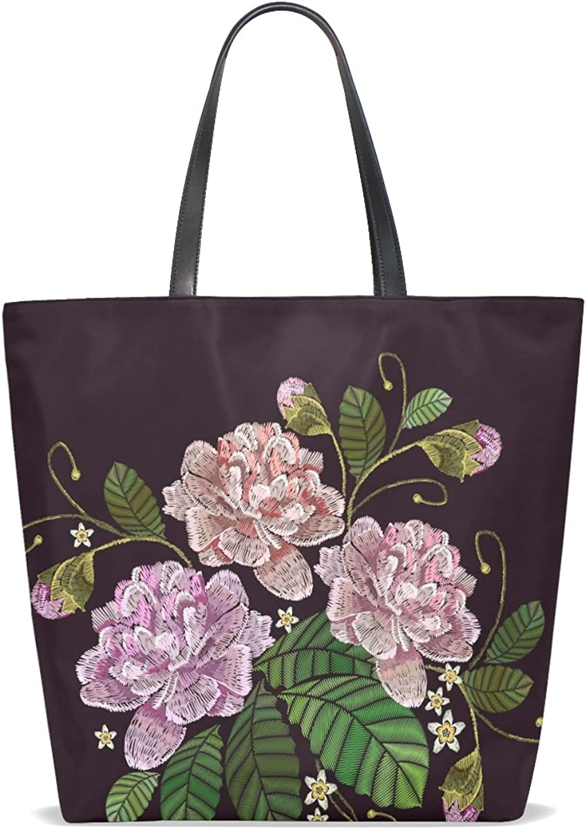 Handbags for Women Roses Leaf Embroidery Tote Shoulder Bag Satchel for Ladies Girls