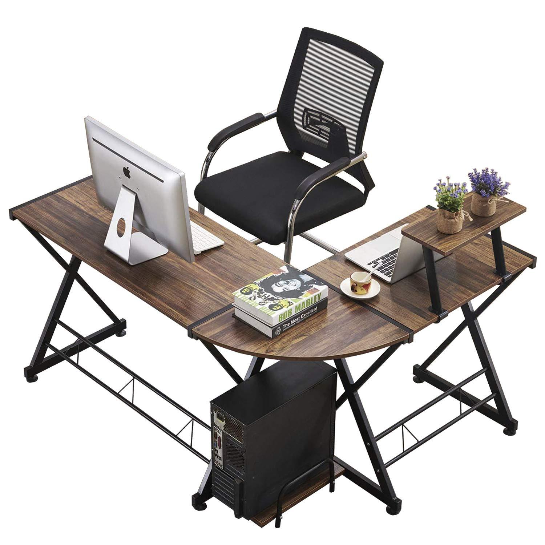 GreenForest L Shaped Desk Office Computer Corner Desk with Storage Shelf PC Table Workstation for Home Office, Walnut GreenWorlds