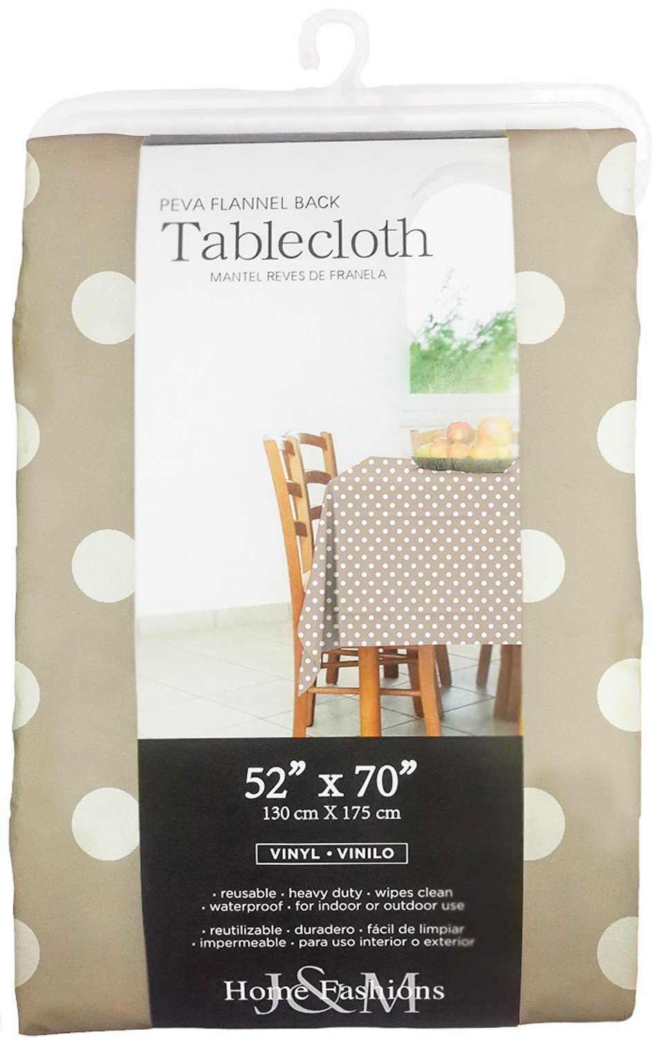 Amazon.com: J U0026 M Home Fashions Polka Dot Round Vinyl Tablecloth, 70u0027: Home  U0026 Kitchen